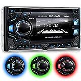 XOMAX XM-2CDB620 Autoradio mit CD-Player I Bluetooth Freisprecheinrichtung I 3 Farben einstellbar (Rot, Blau, Grün) I USB, Micro SD, AUX I Anschluss...